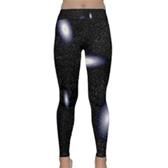 Galaxy Planet Space Star Light Polka Night Classic Yoga Leggings by Mariart