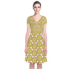 Horned Melon Green Fruit Short Sleeve Front Wrap Dress by Mariart