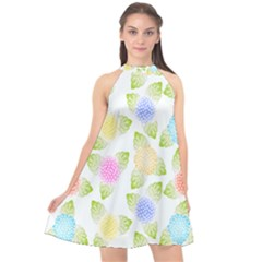 Fruit Grapes Purple Yellow Blue Pink Rainbow Leaf Green Halter Neckline Chiffon Dress  by Mariart