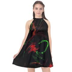 Paint Black Red Green Halter Neckline Chiffon Dress  by Mariart