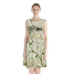 Leaf Sexy Green Gray Sleeveless Chiffon Waist Tie Dress by Mariart