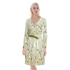 Leaf Sexy Green Gray Long Sleeve Velvet Front Wrap Dress by Mariart