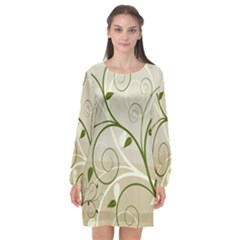 Leaf Sexy Green Gray Long Sleeve Chiffon Shift Dress  by Mariart