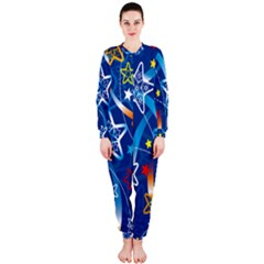 Line Star Space Blue Sky Light Rainbow Red Orange White Yellow Onepiece Jumpsuit (ladies)  by Mariart