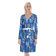 Line Star Space Blue Sky Light Rainbow Red Orange White Yellow Long Sleeve Velvet Front Wrap Dress by Mariart
