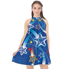 Line Star Space Blue Sky Light Rainbow Red Orange White Yellow Halter Neckline Chiffon Dress
