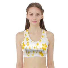 Shamrock Yellow Star Flower Floral Star Sports Bra With Border by Mariart