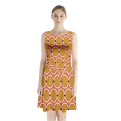 Orange Circle Polka Sleeveless Chiffon Waist Tie Dress by Mariart