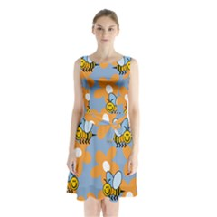 Wasp Bee Honey Flower Floral Star Orange Yellow Gray Sleeveless Chiffon Waist Tie Dress by Mariart