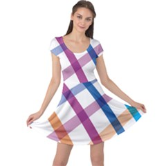 Webbing Line Color Rainbow Cap Sleeve Dresses by Mariart