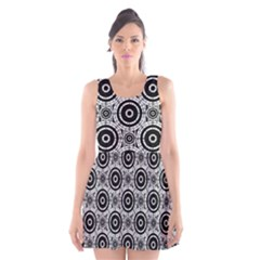 Geometric Black And White Scoop Neck Skater Dress by linceazul