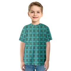 Turquoise Damask Pattern Kids  Sport Mesh Tee by linceazul