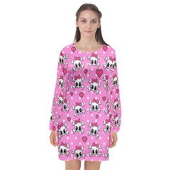 Cute Skulls  Long Sleeve Chiffon Shift Dress  by Valentinaart