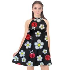 Sixties Flashback Halter Neckline Chiffon Dress  by dawnsiegler