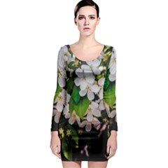 Tree Blossoms Long Sleeve Bodycon Dress by dawnsiegler