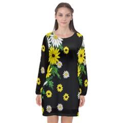 Floral Rhapsody Pt 3 Long Sleeve Chiffon Shift Dress  by dawnsiegler