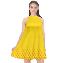 Yellow Star Light Space Halter Neckline Chiffon Dress