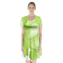 Cabbage Leaf Vegetable Green Short Sleeve V Neck Flare Dress by Mariart