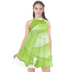 Cabbage Leaf Vegetable Green Halter Neckline Chiffon Dress  by Mariart