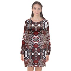 Batik Fabric Long Sleeve Chiffon Shift Dress