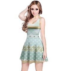 Circle Polka Plaid Triangle Gold Blue Flower Floral Star Reversible Sleeveless Dress by Mariart