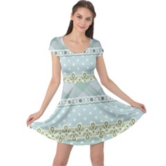 Circle Polka Plaid Triangle Gold Blue Flower Floral Star Cap Sleeve Dresses by Mariart