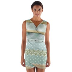 Circle Polka Plaid Triangle Gold Blue Flower Floral Star Wrap Front Bodycon Dress by Mariart