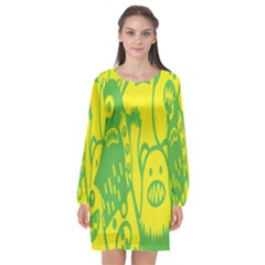 Easter Monster Sinister Happy Green Yellow Magic Rock Long Sleeve Chiffon Shift Dress