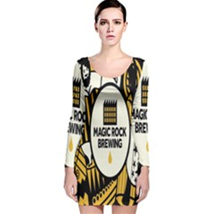 Easter Monster Sinister Happy Magic Rock Mask Face Yellow Magic Rock Long Sleeve Velvet Bodycon Dress by Mariart