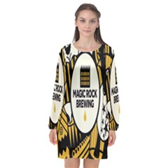 Easter Monster Sinister Happy Magic Rock Mask Face Yellow Magic Rock Long Sleeve Chiffon Shift Dress