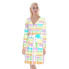 Easter Subway Blossoms Color Rainbow Chocolate Long Sleeve Velvet Front Wrap Dress by Mariart