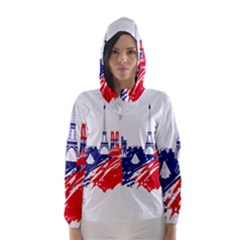 Eiffel Tower Monument Statue Of Liberty France England Red Blue Hooded Wind Breaker (women) by Mariart