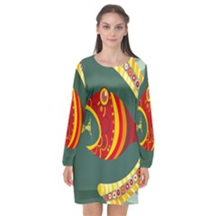 Fish Predator Sea Water Beach Monster Long Sleeve Chiffon Shift Dress  by Mariart
