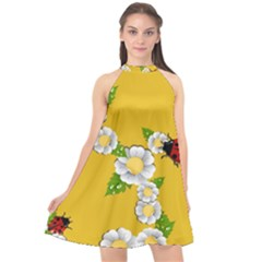 Flower Floral Sunflower Butterfly Red Yellow White Green Leaf Halter Neckline Chiffon Dress  by Mariart