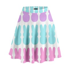 Happy Easter Rabbit Color Green Purple Blue Pink High Waist Skirt