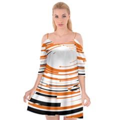 Hole Black Orange Arrow Cutout Spaghetti Strap Chiffon Dress by Mariart