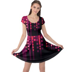 Line Vertical Plaid Light Black Red Purple Pink Sexy Cap Sleeve Dresses by Mariart