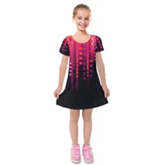 Line Vertical Plaid Light Black Red Purple Pink Sexy Kids  Short Sleeve Velvet Dress by Mariart