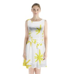 Line Painting Yellow Star Sleeveless Waist Tie Chiffon Dress by Mariart
