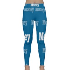 Money White Blue Color Classic Yoga Leggings by Mariart