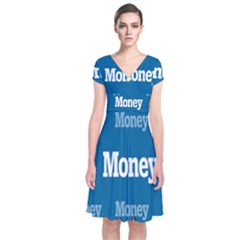 Money White Blue Color Short Sleeve Front Wrap Dress by Mariart