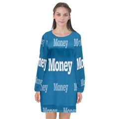 Money White Blue Color Long Sleeve Chiffon Shift Dress  by Mariart