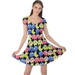 Pacman Seamless Generated Monster Eat Hungry Eye Mask Face Color Rainbow Cap Sleeve Dresses by Mariart