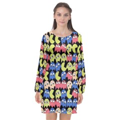 Pacman Seamless Generated Monster Eat Hungry Eye Mask Face Color Rainbow Long Sleeve Chiffon Shift Dress  by Mariart