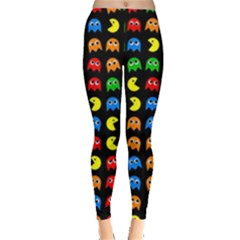Pacman Seamless Generated Monster Eat Hungry Eye Mask Face Rainbow Color Leggings