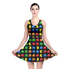 Pacman Seamless Generated Monster Eat Hungry Eye Mask Face Rainbow Color Reversible Skater Dress by Mariart