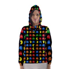 Pacman Seamless Generated Monster Eat Hungry Eye Mask Face Rainbow Color Hooded Wind Breaker (women)