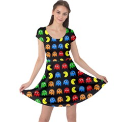 Pacman Seamless Generated Monster Eat Hungry Eye Mask Face Rainbow Color Cap Sleeve Dresses by Mariart