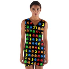 Pacman Seamless Generated Monster Eat Hungry Eye Mask Face Rainbow Color Wrap Front Bodycon Dress by Mariart