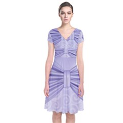 Ribbon Purple Sexy Short Sleeve Front Wrap Dress by Mariart